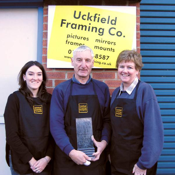 The team at Uckfield Framing showing their delight at winning the Award thanks to a very welcome mystery nomination!
