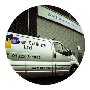 Parker Ceilings van on-site, design and build of bespoke ceilings at American Express Communiy Stadium